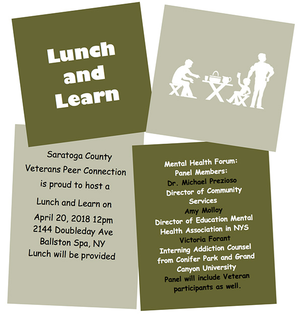Saratoga County Veterans Peer Connection - Lunch and Learn - April 2018