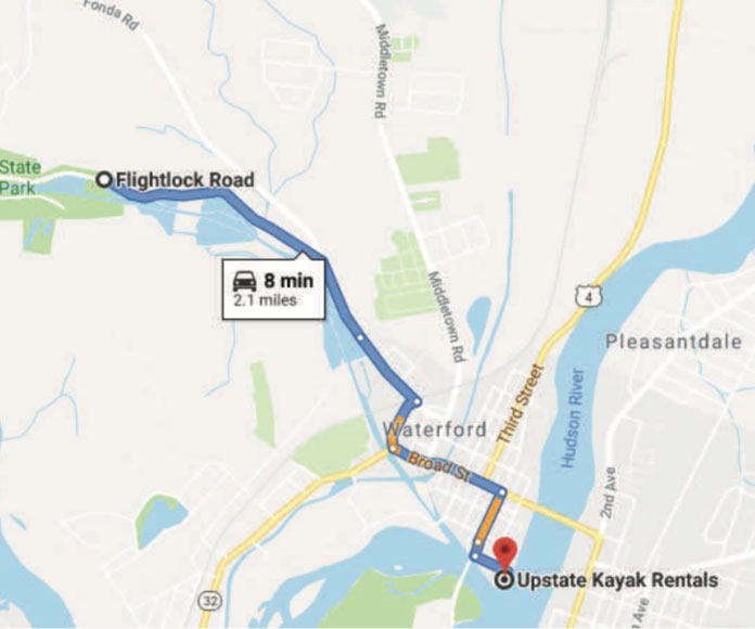 Kayaking on the Mohawk River - parking map