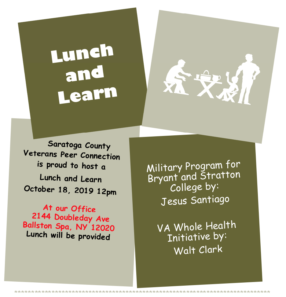 Lunch and Learn at Saratoga County Veterans Service Agency, 10/18/19